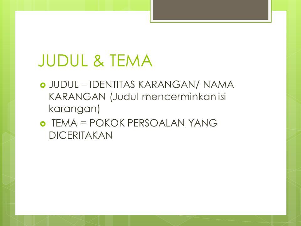 JUDUL & TEMA  JUDUL – IDENTITAS KARANGAN/ NAMA KARANGAN (Judul mencerminkan isi karangan)  TEMA = POKOK PERSOALAN YANG DICERITAKAN