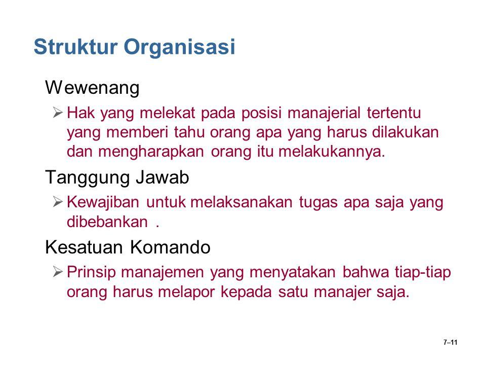 7–11 Struktur Organisasi Wewenang  Hak yang melekat pada posisi manajerial tertentu yang memberi tahu orang apa yang harus dilakukan dan mengharapkan
