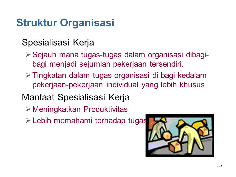 7–7 Struktur Organisasi Spesialisasi Kerja  Sejauh mana tugas-tugas dalam organisasi dibagi- bagi menjadi sejumlah pekerjaan tersendiri.  Tingkatan