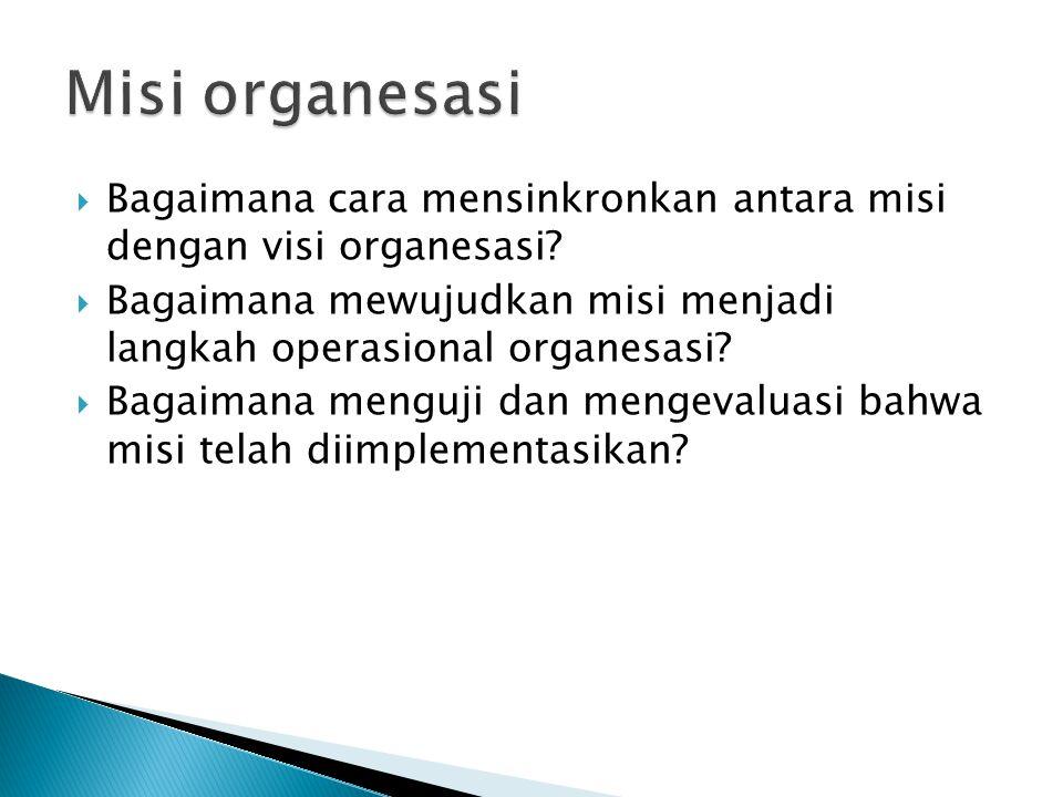  Bagaimana cara mensinkronkan antara misi dengan visi organesasi.