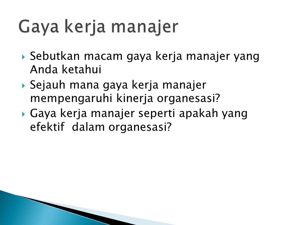  Sebutkan macam gaya kerja manajer yang Anda ketahui  Sejauh mana gaya kerja manajer mempengaruhi kinerja organesasi.
