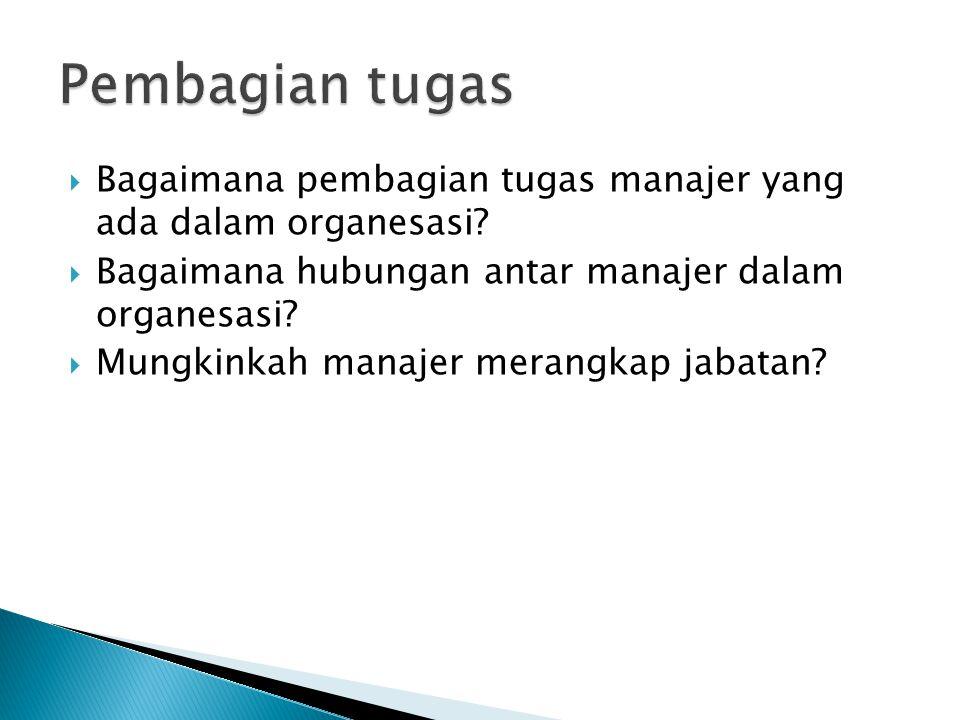  Bagaimana pembagian tugas manajer yang ada dalam organesasi.