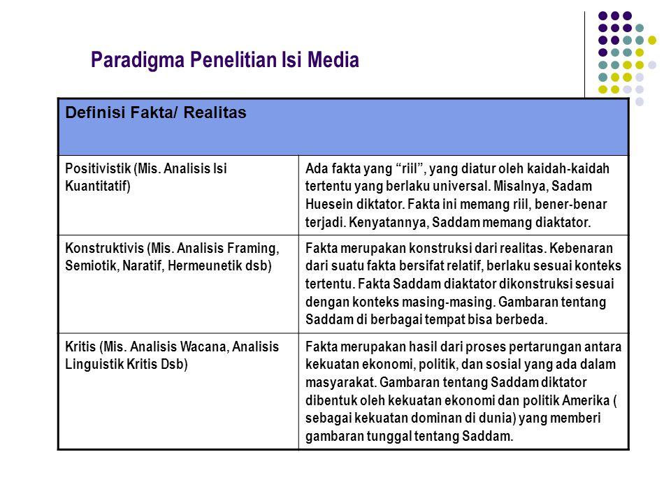 """Paradigma Penelitian Isi Media Definisi Fakta/ Realitas Positivistik (Mis. Analisis Isi Kuantitatif) Ada fakta yang """"riil"""", yang diatur oleh kaidah-ka"""