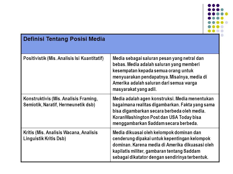 Definisi Tentang Posisi Media Positivistik (Mis. Analisis Isi Kuantitatif)Media sebagai saluran pesan yang netral dan bebas. Media adalah saluran yang