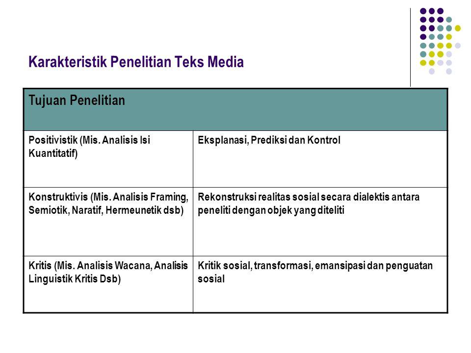 Karakteristik Penelitian Teks Media Tujuan Penelitian Positivistik (Mis. Analisis Isi Kuantitatif) Eksplanasi, Prediksi dan Kontrol Konstruktivis (Mis