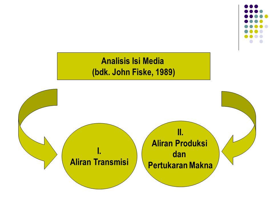 I. Aliran Transmisi II. Aliran Produksi dan Pertukaran Makna Analisis Isi Media (bdk. John Fiske, 1989)