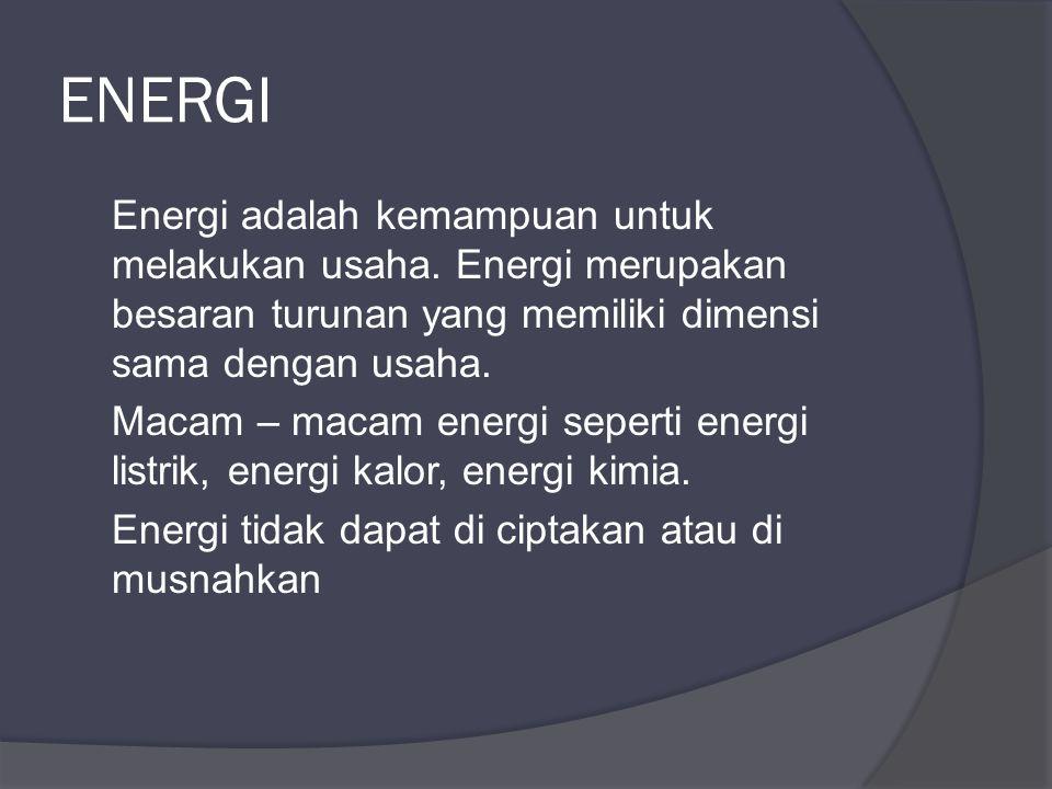 ENERGI Energi adalah kemampuan untuk melakukan usaha.
