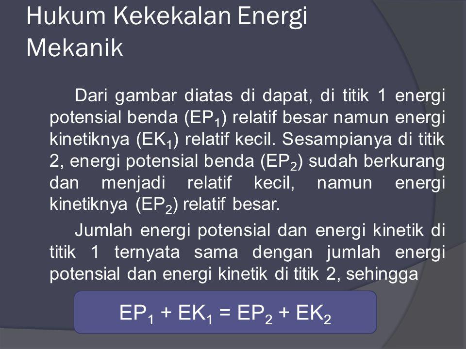 Dari gambar diatas di dapat, di titik 1 energi potensial benda (EP 1 ) relatif besar namun energi kinetiknya (EK 1 ) relatif kecil.