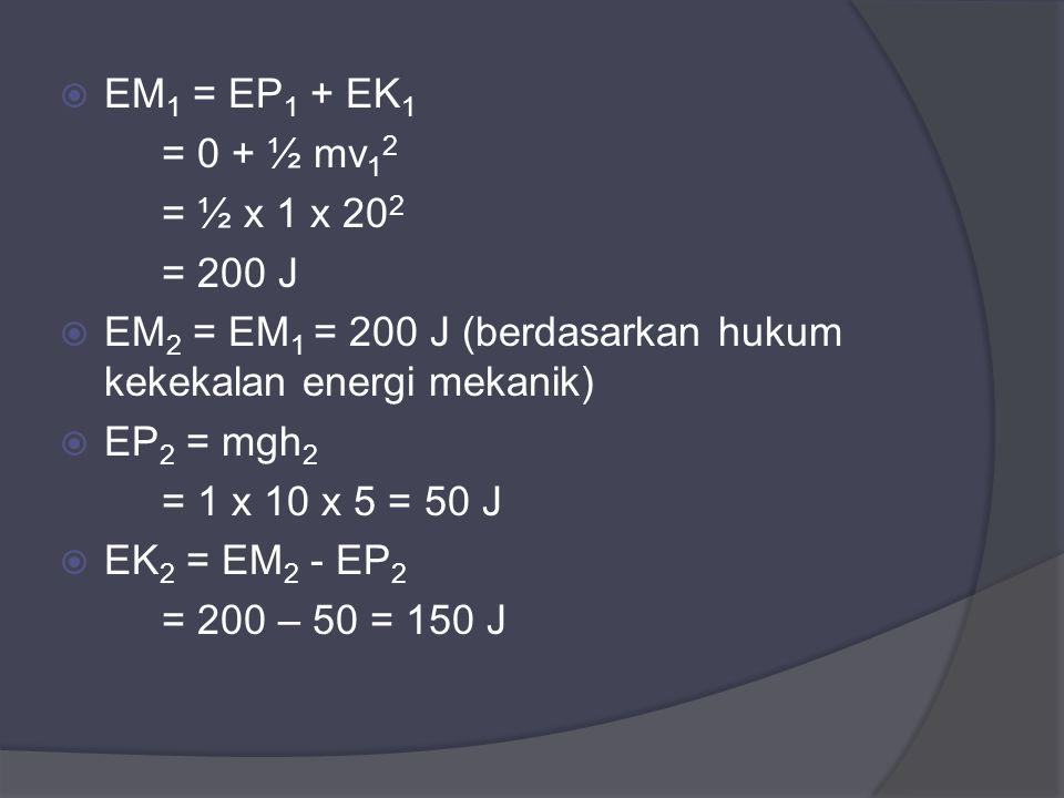  EM 1 = EP 1 + EK 1 = 0 + ½ mv 1 2 = ½ x 1 x 20 2 = 200 J  EM 2 = EM 1 = 200 J (berdasarkan hukum kekekalan energi mekanik)  EP 2 = mgh 2 = 1 x 10 x 5 = 50 J  EK 2 = EM 2 - EP 2 = 200 – 50 = 150 J
