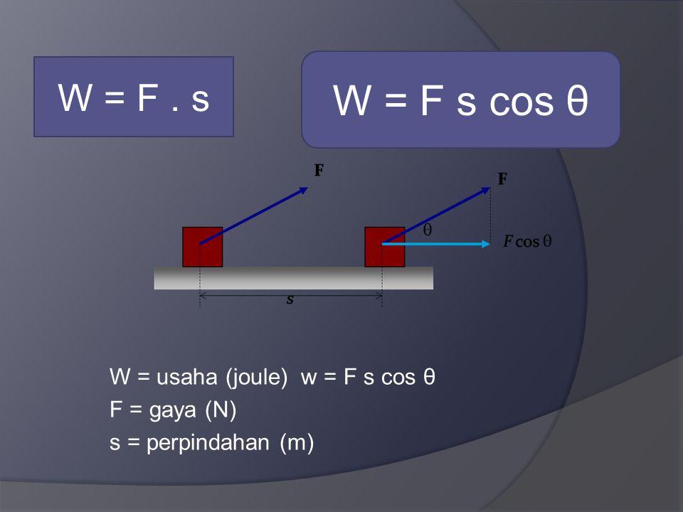 W = usaha (joule) w = F s cos θ F = gaya (N) s = perpindahan (m) W = F. s W = F s cos θ