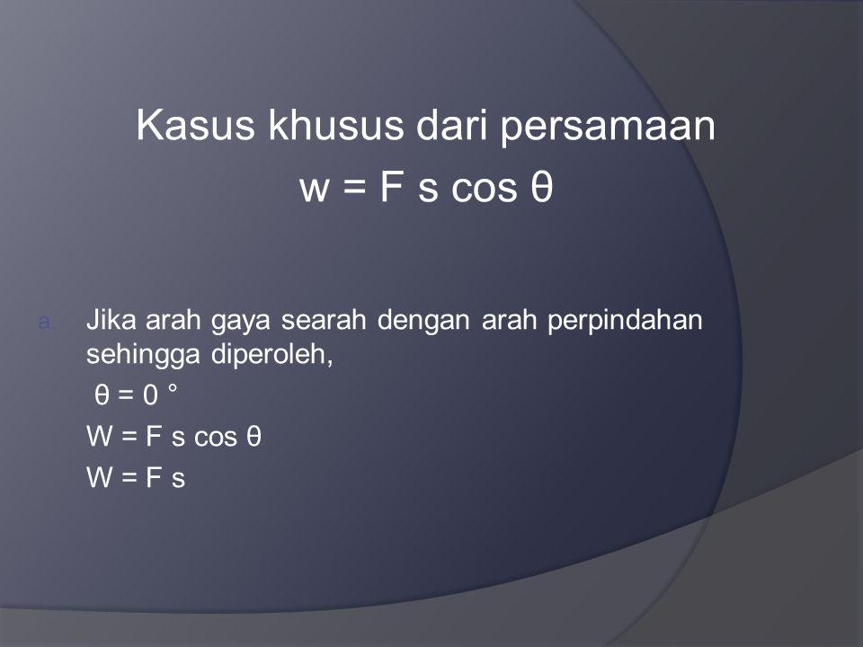 Kasus khusus dari persamaan w = F s cos θ a.