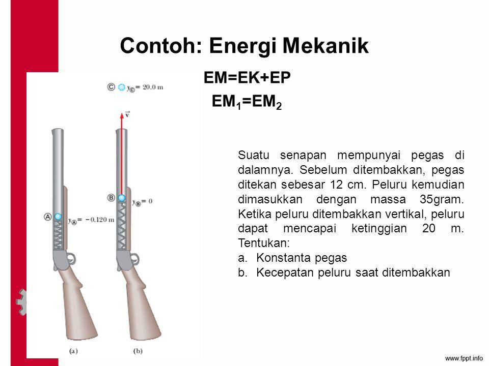 Contoh: Energi Mekanik EM=EK+EP EM 1 =EM 2 Suatu senapan mempunyai pegas di dalamnya. Sebelum ditembakkan, pegas ditekan sebesar 12 cm. Peluru kemudia