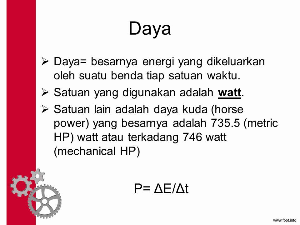 Daya  Daya= besarnya energi yang dikeluarkan oleh suatu benda tiap satuan waktu.  Satuan yang digunakan adalah watt.  Satuan lain adalah daya kuda