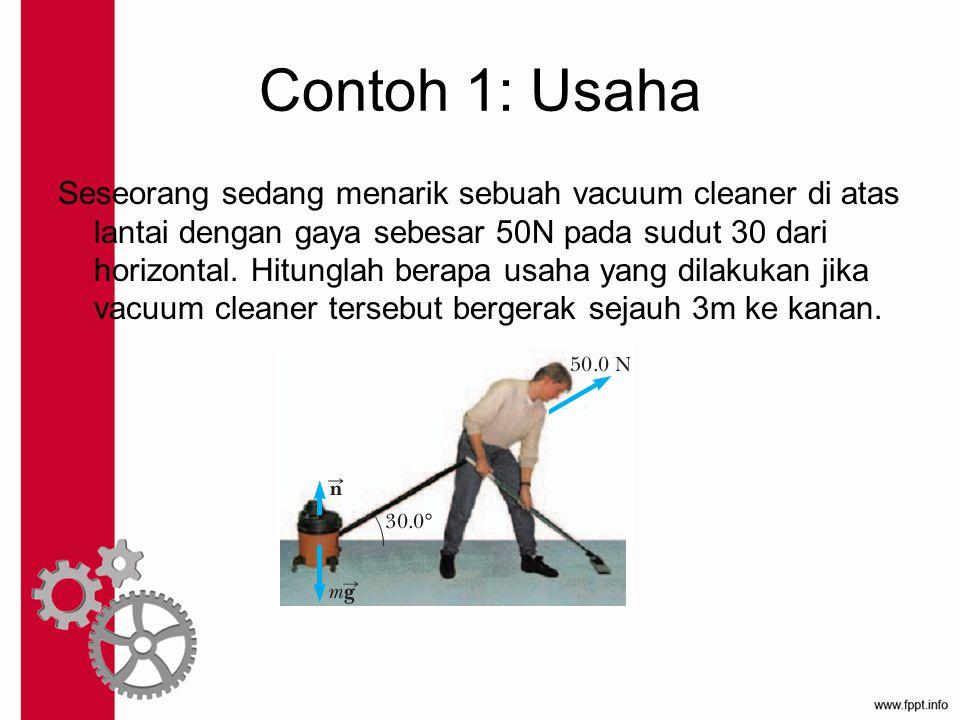 Contoh 1: Usaha Seseorang sedang menarik sebuah vacuum cleaner di atas lantai dengan gaya sebesar 50N pada sudut 30 dari horizontal. Hitunglah berapa