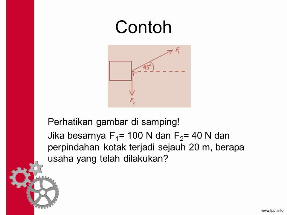 Contoh Perhatikan gambar di samping! Jika besarnya F 1 = 100 N dan F 2 = 40 N dan perpindahan kotak terjadi sejauh 20 m, berapa usaha yang telah dilak