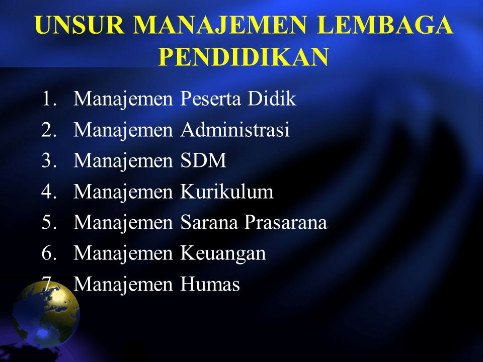 UNSUR MANAJEMEN LEMBAGA PENDIDIKAN 1.Manajemen Peserta Didik 2.Manajemen Administrasi 3.Manajemen SDM 4.Manajemen Kurikulum 5.Manajemen Sarana Prasarana 6.Manajemen Keuangan 7.Manajemen Humas