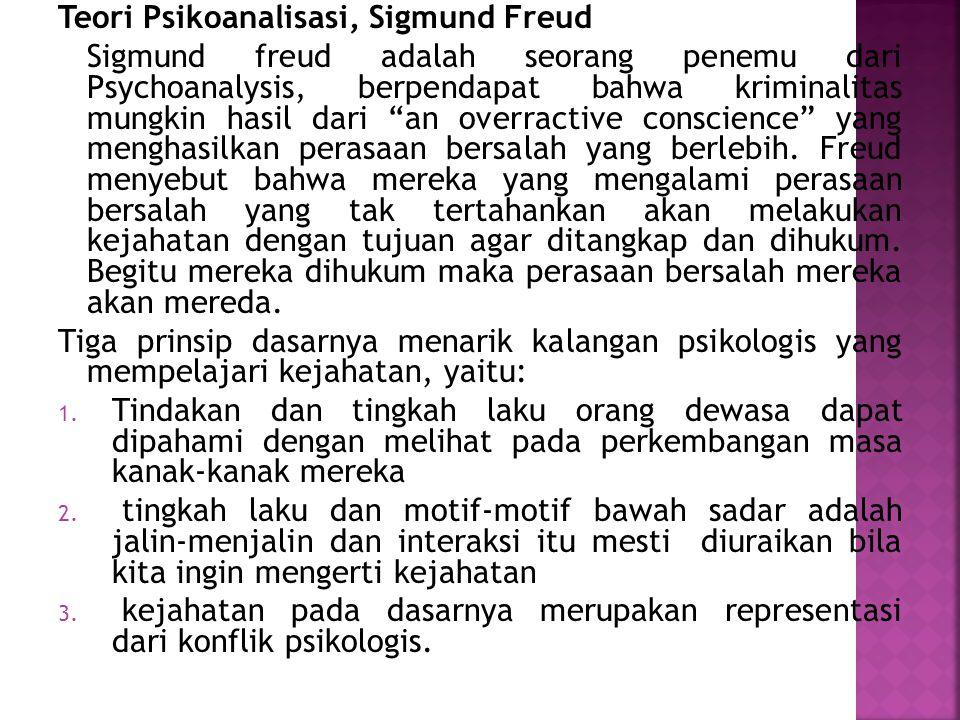 """Teori Psikoanalisasi, Sigmund Freud Sigmund freud adalah seorang penemu dari Psychoanalysis, berpendapat bahwa kriminalitas mungkin hasil dari """"an ove"""