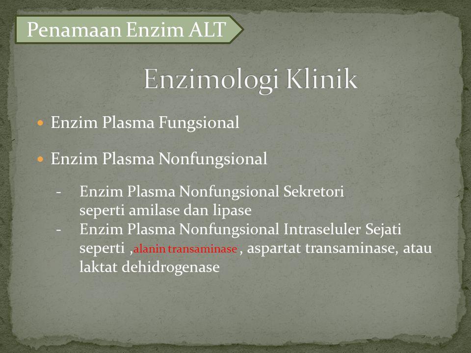 Enzim Plasma Fungsional Enzim Plasma Nonfungsional -Enzim Plasma Nonfungsional Sekretori seperti amilase dan lipase -Enzim Plasma Nonfungsional Intraseluler Sejati seperti,, aspartat transaminase, atau laktat dehidrogenase alanin transaminase Penamaan Enzim ALT