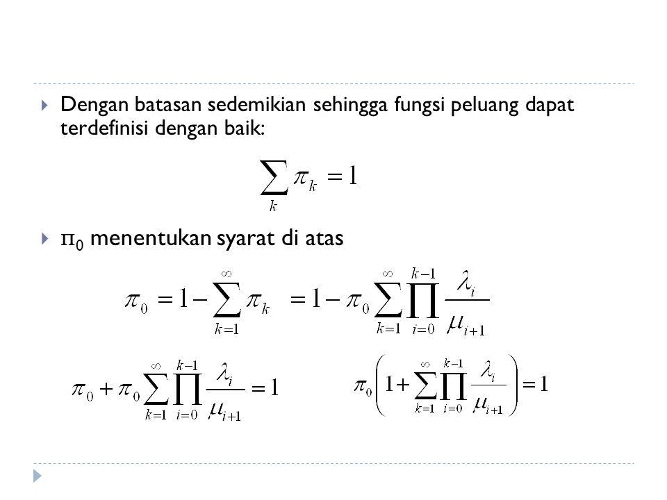  Dengan batasan sedemikian sehingga fungsi peluang dapat terdefinisi dengan baik:  π 0 menentukan syarat di atas