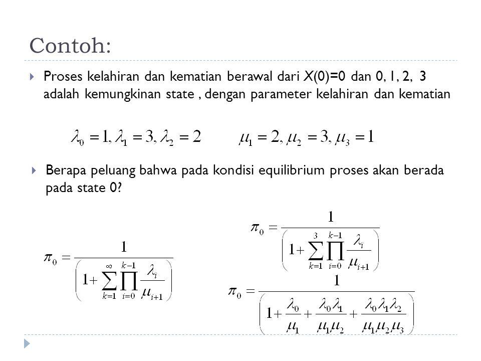Contoh:  Proses kelahiran dan kematian berawal dari X(0)=0 dan 0, 1, 2, 3 adalah kemungkinan state, dengan parameter kelahiran dan kematian  Berapa