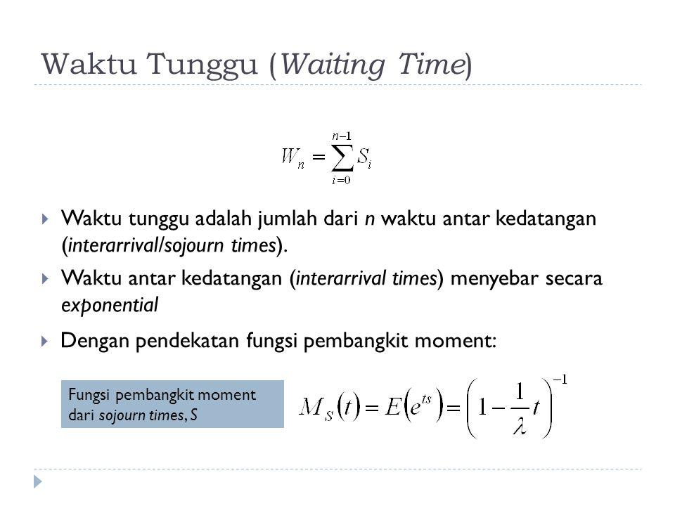 Waktu Tunggu ( Waiting Time )  Waktu tunggu adalah jumlah dari n waktu antar kedatangan (interarrival/sojourn times).  Waktu antar kedatangan (inter