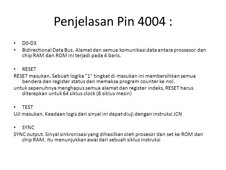 Penjelasan Pin 4004 : D0-D3 Bidirectional Data Bus. Alamat dan semua komunikasi data antara prossesor dan chip RAM dan ROM ini terjadi pada 4 baris. R