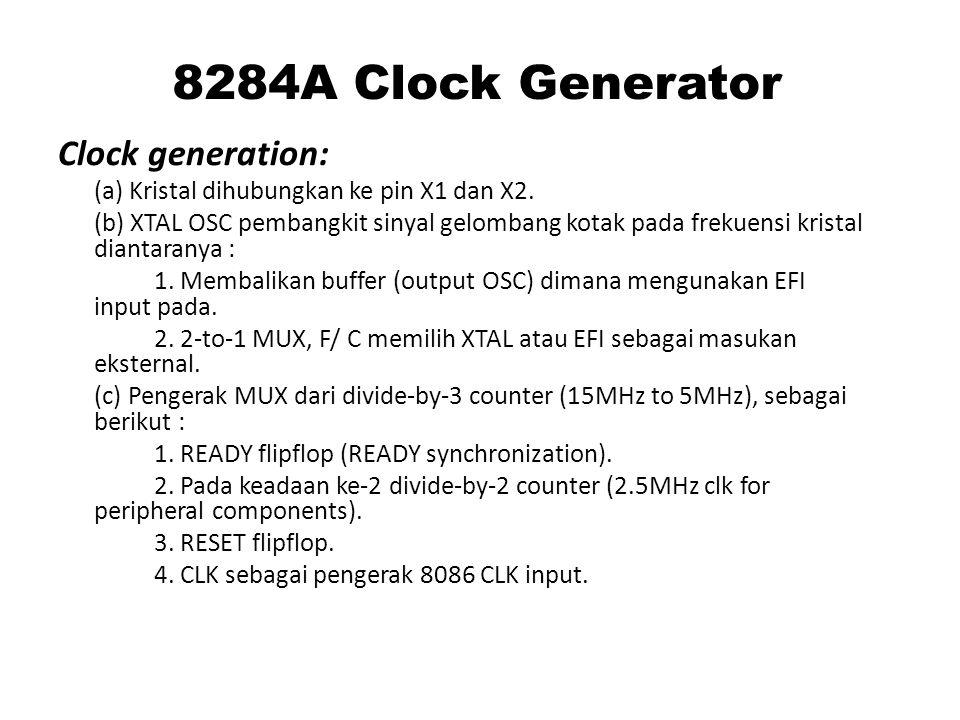 8284A Clock Generator Clock generation: (a) Kristal dihubungkan ke pin X1 dan X2.