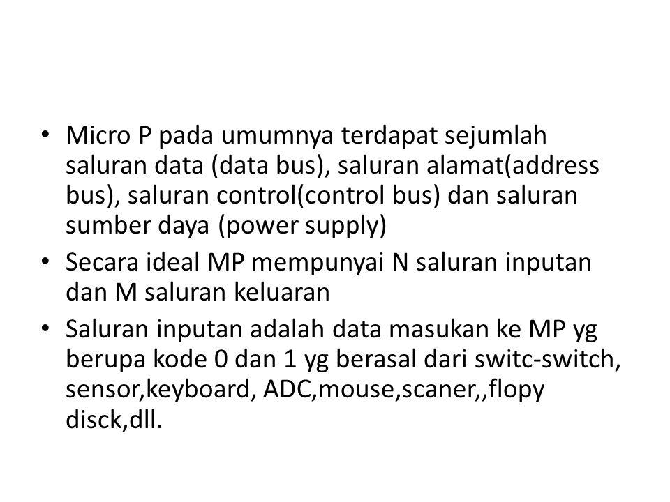 Micro P pada umumnya terdapat sejumlah saluran data (data bus), saluran alamat(address bus), saluran control(control bus) dan saluran sumber daya (pow