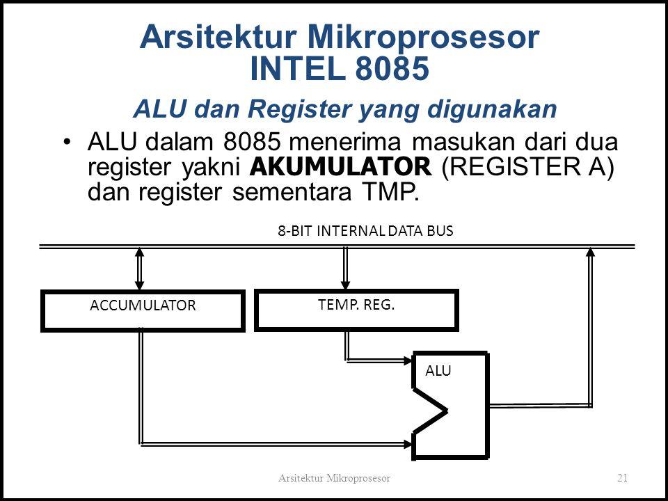 Arsitektur Mikroprosesor21 Arsitektur Mikroprosesor INTEL 8085 ALU dan Register yang digunakan ALU dalam 8085 menerima masukan dari dua register yakni AKUMULATOR (REGISTER A) dan register sementara TMP.