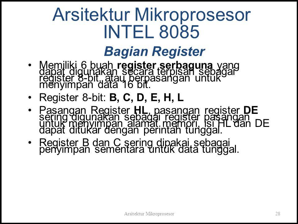Arsitektur Mikroprosesor28 Arsitektur Mikroprosesor INTEL 8085 Bagian Register Memiliki 6 buah register serbaguna yang dapat digunakan secara terpisah sebagai register 8-bit, atau berpasangan untuk menyimpan data 16 bit.