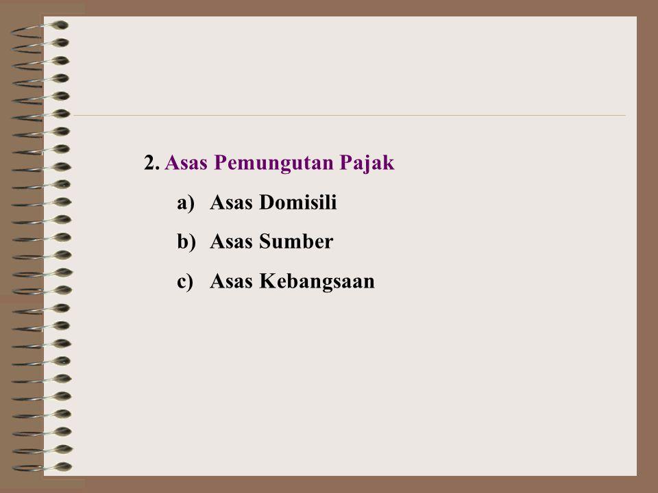2. Asas Pemungutan Pajak a)Asas Domisili b)Asas Sumber c)Asas Kebangsaan