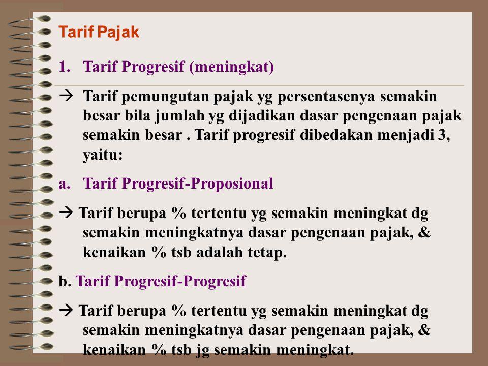 Tarif Pajak 1.Tarif Progresif (meningkat)  Tarif pemungutan pajak yg persentasenya semakin besar bila jumlah yg dijadikan dasar pengenaan pajak semak