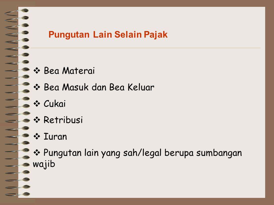 Pungutan Lain Selain Pajak  Bea Materai  Bea Masuk dan Bea Keluar  Cukai  Retribusi  Iuran  Pungutan lain yang sah/legal berupa sumbangan wajib