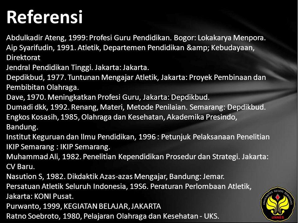 Referensi Abdulkadir Ateng, 1999: Profesi Guru Pendidikan.