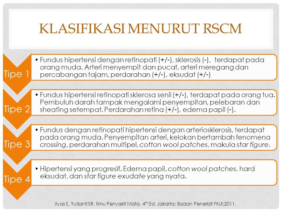 KLASIFIKASI MENURUT RSCM Tipe 1 Fundus hipertensi dengan retinopati (+/-), sklerosis (-), terdapat pada orang muda. Arteri menyempit dan pucat, arteri