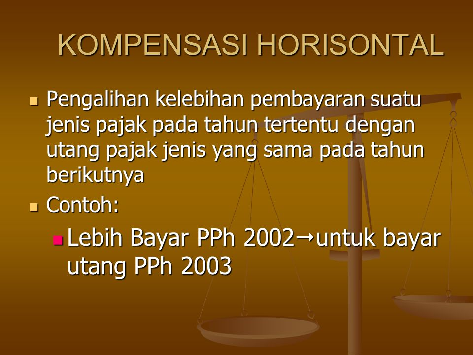 KOMPENSASI HORISONTAL Pengalihan kelebihan pembayaran suatu jenis pajak pada tahun tertentu dengan utang pajak jenis yang sama pada tahun berikutnya Pengalihan kelebihan pembayaran suatu jenis pajak pada tahun tertentu dengan utang pajak jenis yang sama pada tahun berikutnya Contoh: Contoh: Lebih Bayar PPh 2002  untuk bayar utang PPh 2003 Lebih Bayar PPh 2002  untuk bayar utang PPh 2003