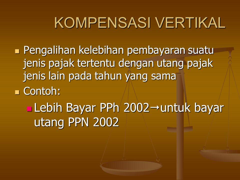 KOMPENSASI VERTIKAL Pengalihan kelebihan pembayaran suatu jenis pajak tertentu dengan utang pajak jenis lain pada tahun yang sama Pengalihan kelebihan pembayaran suatu jenis pajak tertentu dengan utang pajak jenis lain pada tahun yang sama Contoh: Contoh: Lebih Bayar PPh 2002  untuk bayar utang PPN 2002 Lebih Bayar PPh 2002  untuk bayar utang PPN 2002