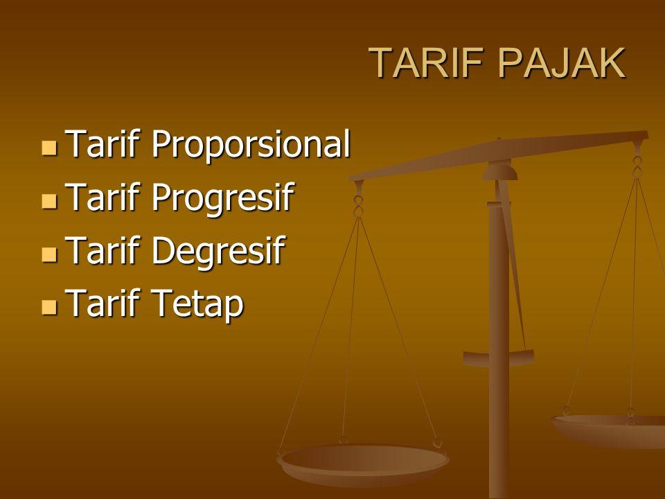 TARIF PAJAK Tarif Proporsional Tarif Proporsional Tarif Progresif Tarif Progresif Tarif Degresif Tarif Degresif Tarif Tetap Tarif Tetap