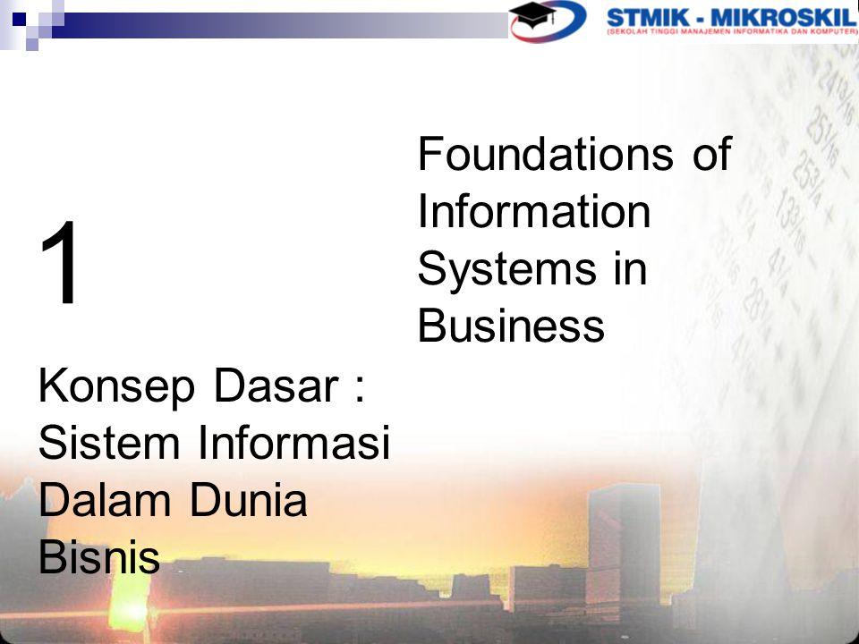 1 Konsep Dasar : Sistem Informasi Dalam Dunia Bisnis Foundations of Information Systems in Business