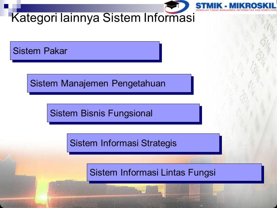Kategori lainnya Sistem Informasi Sistem Pakar Sistem Manajemen Pengetahuan Sistem Bisnis Fungsional Sistem Informasi Strategis Sistem Informasi Lintas Fungsi