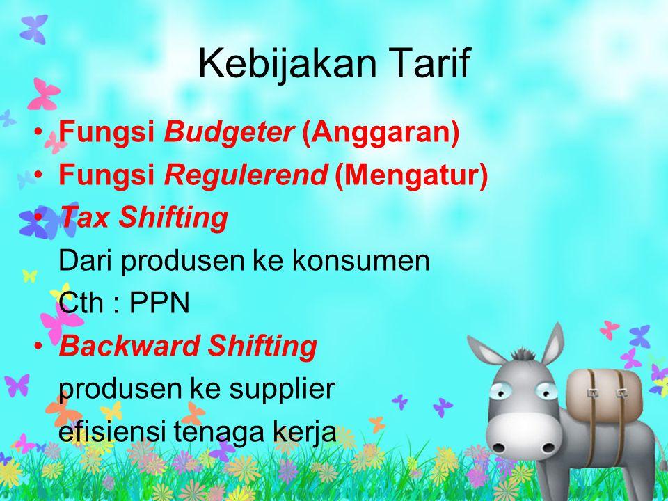 Kebijakan Tarif Fungsi Budgeter (Anggaran) Fungsi Regulerend (Mengatur) Tax Shifting Dari produsen ke konsumen Cth : PPN Backward Shifting produsen ke