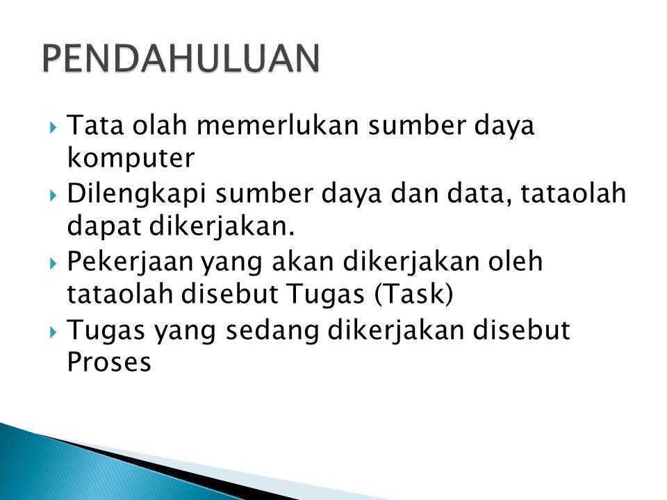  Tata olah memerlukan sumber daya komputer  Dilengkapi sumber daya dan data, tataolah dapat dikerjakan.  Pekerjaan yang akan dikerjakan oleh tataol