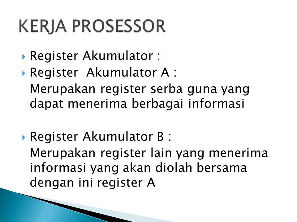  Register Akumulator :  Register Akumulator A : Merupakan register serba guna yang dapat menerima berbagai informasi  Register Akumulator B : Merup