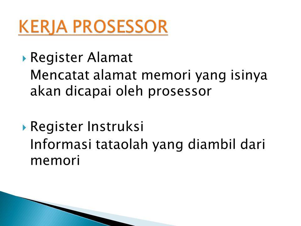  Register Alamat Mencatat alamat memori yang isinya akan dicapai oleh prosessor  Register Instruksi Informasi tataolah yang diambil dari memori