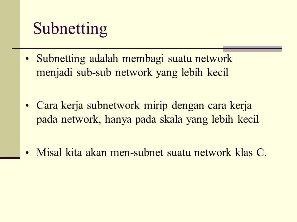 Subnetting Subnetting adalah membagi suatu network menjadi sub-sub network yang lebih kecil Cara kerja subnetwork mirip dengan cara kerja pada network