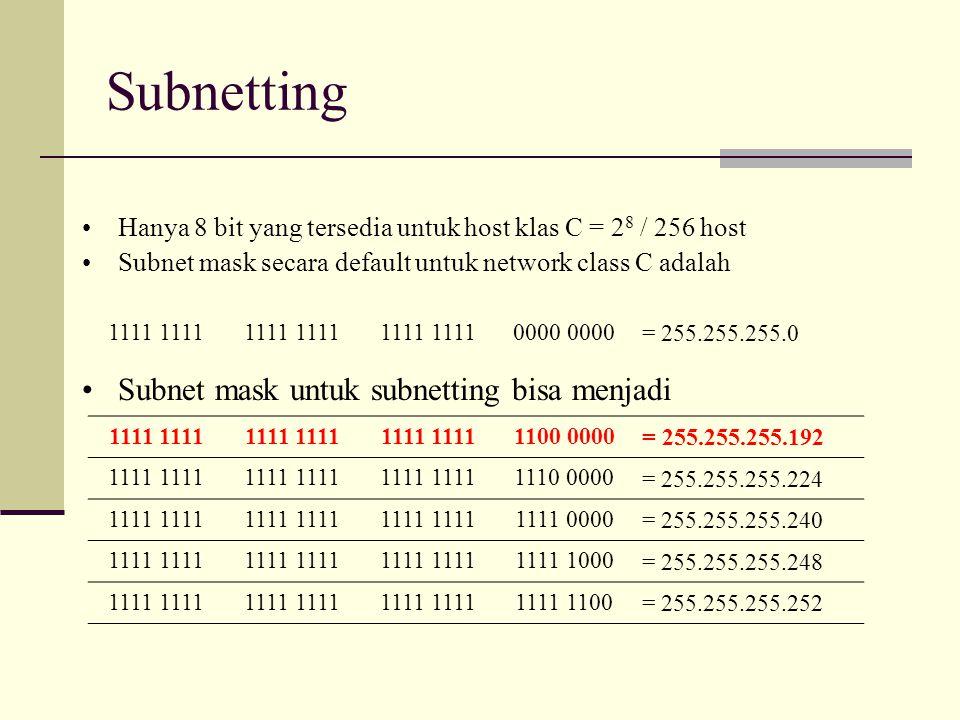 Subnetting Hanya 8 bit yang tersedia untuk host klas C = 2 8 / 256 host Subnet mask secara default untuk network class C adalah 1111 0000 = 255.255.25