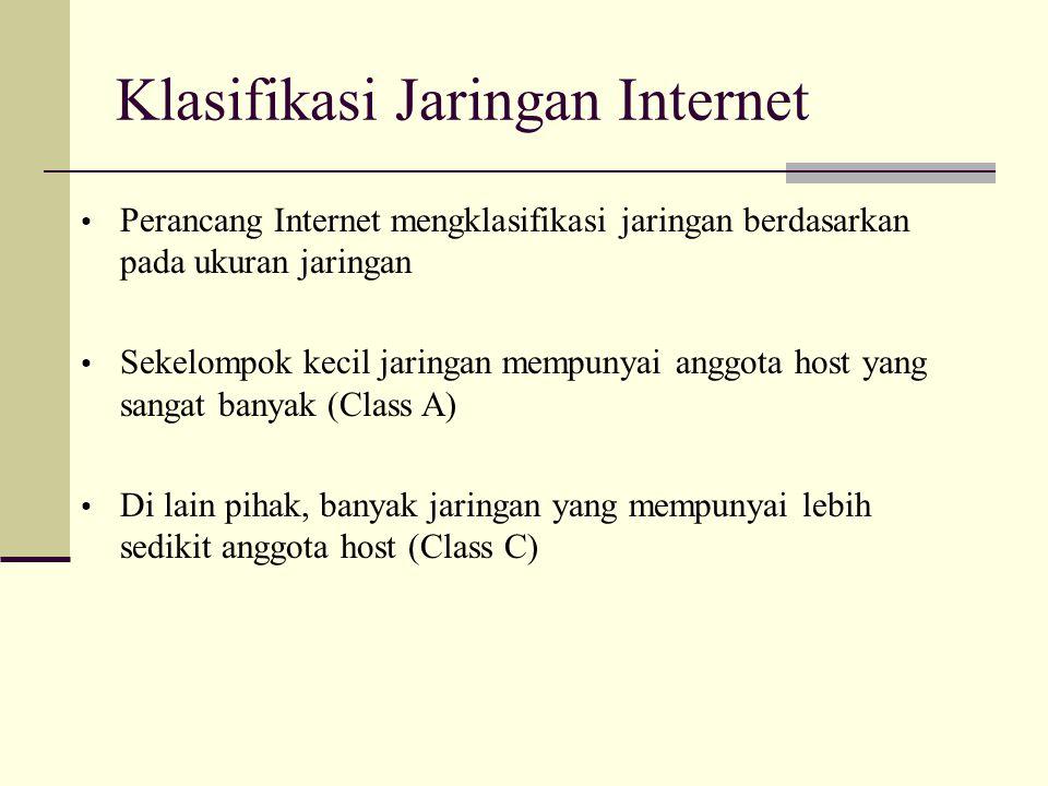 Klasifikasi Jaringan Internet Contoh alamat IP suatu PC: 202.46.249.33 Host dari jaringan klas C SubNet mask = 255.255.255.0 Alamat Network (Network Address,NA) = 202.46.249.0 Alamat Broadcast pada network tersebut (multicast) = 202.46.249.255 Alamat Host (Host Address, HA) = 33