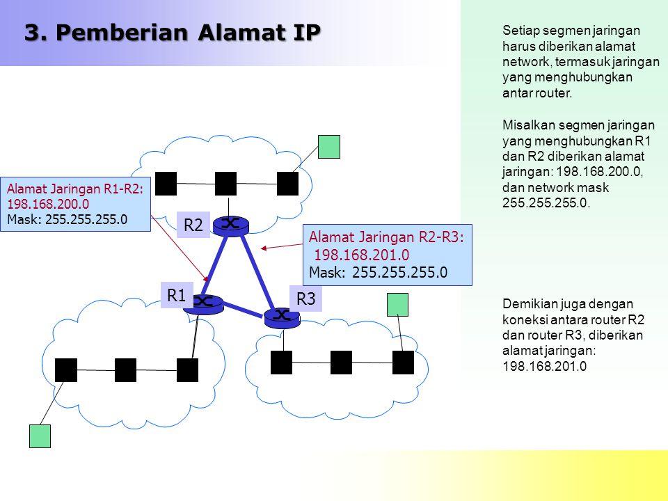 3. Pemberian Alamat IP Setiap segmen jaringan harus diberikan alamat network, termasuk jaringan yang menghubungkan antar router. Misalkan segmen jarin