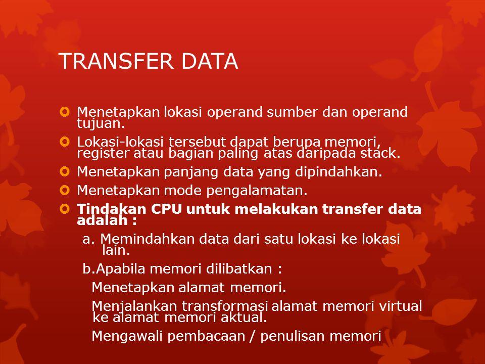 TRANSFER DATA  Menetapkan lokasi operand sumber dan operand tujuan.  Lokasi-lokasi tersebut dapat berupa memori, register atau bagian paling atas da