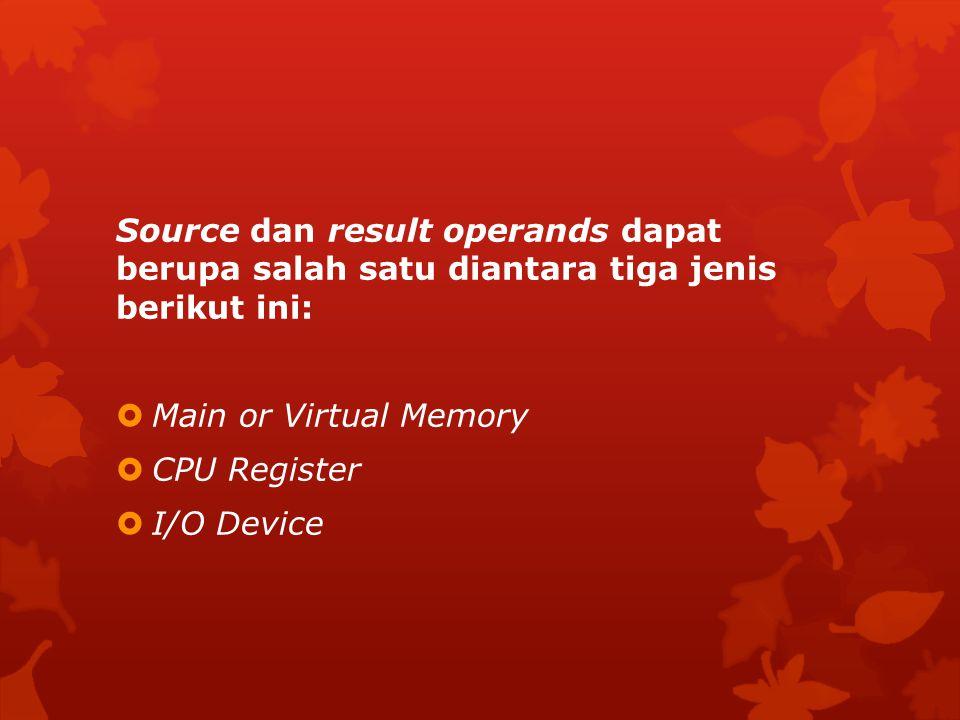 Source dan result operands dapat berupa salah satu diantara tiga jenis berikut ini:  Main or Virtual Memory  CPU Register  I/O Device